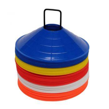 Set of 50 Football Marker Cones - Multi-Coloured
