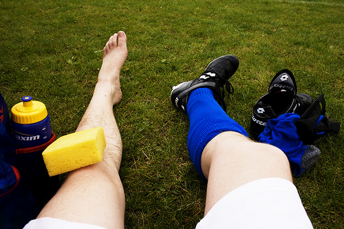 A footballer's knee injury