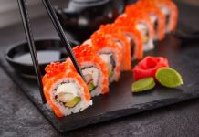Eating sushi is part of a footballer's diet